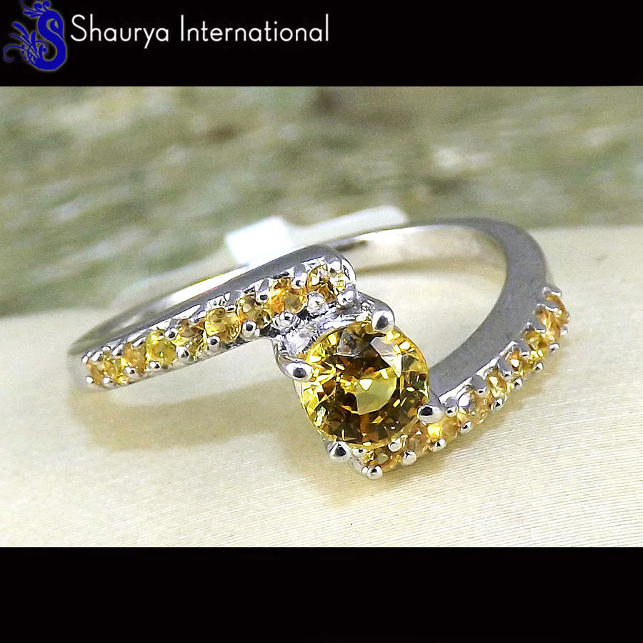 Sapphire Cut S - SFJ880 - Exclusive Natural Yellow Sapphire Cut Gemstone Solid 925 Sterling Silver Ring