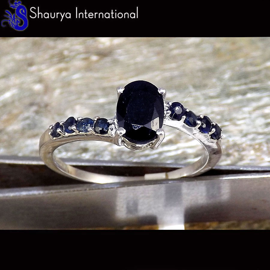 Natural Sapphire Cut V - SFJ880 - Solid 925 Sterling Silver Natural Blue Sapphire Cut Gemstone Ring