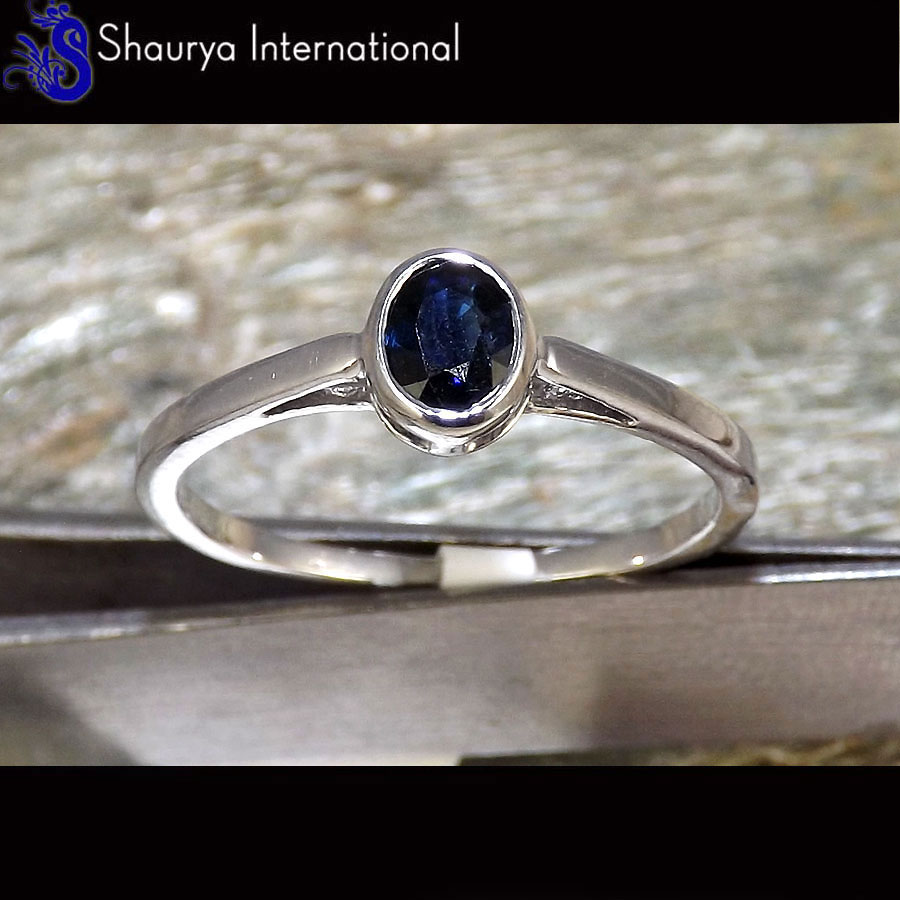 Natural Sapphire Cut X - SFJ880 - Solid 92.5% Sterling Silver Natural Blue Sapphire Cut Gemstone Light Weight Ring
