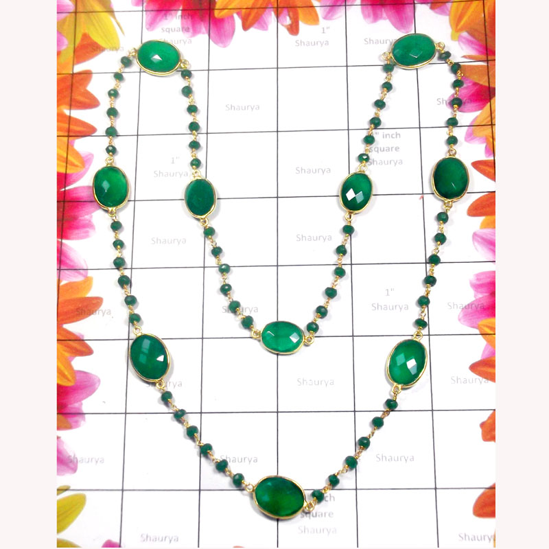 12.5 inch Green Onyx A - SGN994-Green Onyx Beads Sterling Silver Gold Plated Necklace