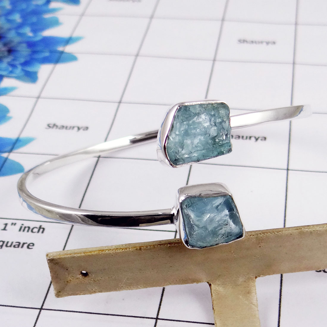 Raw Aquamarine Bangle - SNB977-Solid 925 Sterling Silver with Raw Aquamarine Handmade Trendy Adjustable Bangle