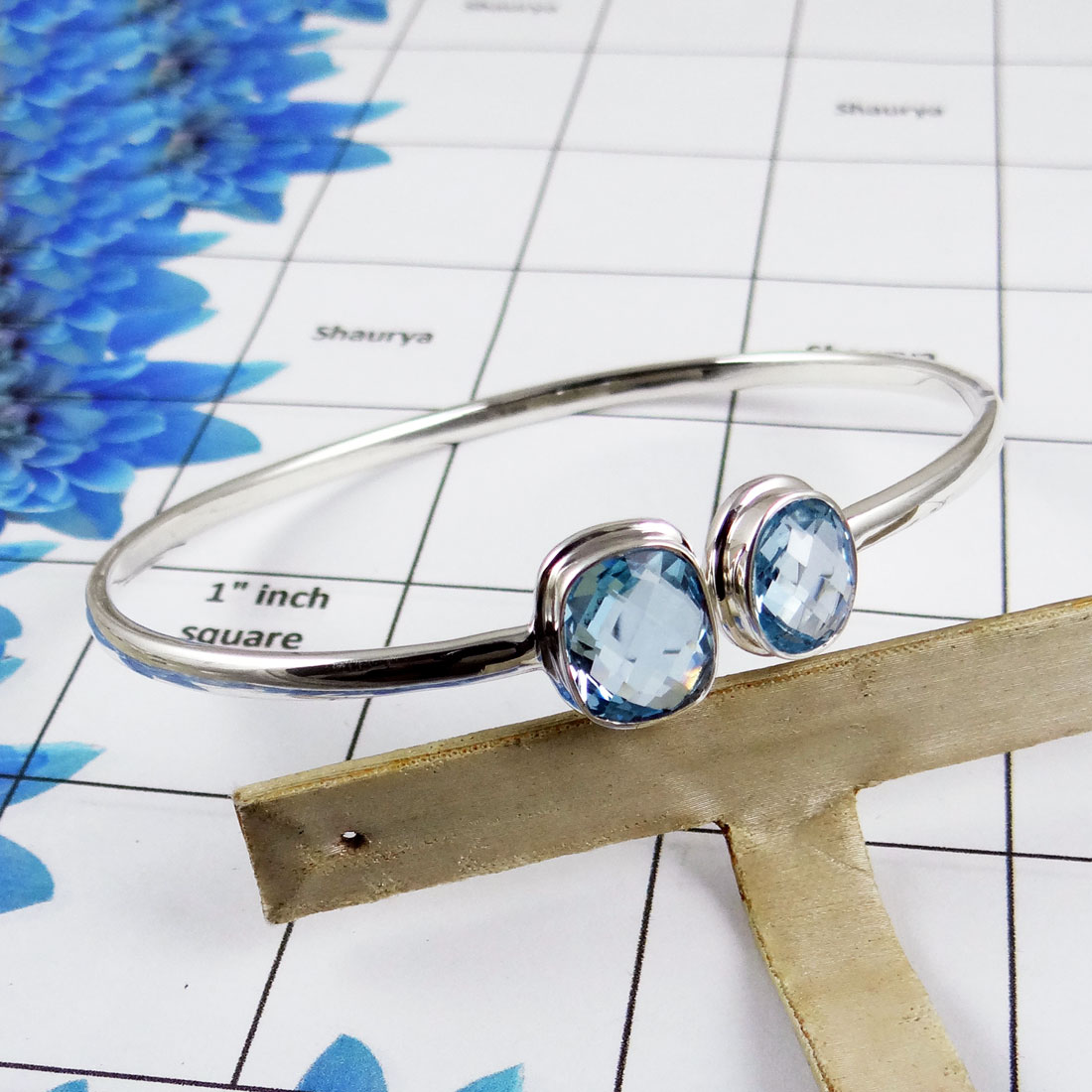 Blue Topaz Bangle - SNB978-Faceted Blue Topaz 925 Sterling Silver Two Stone Adjustable Bangle