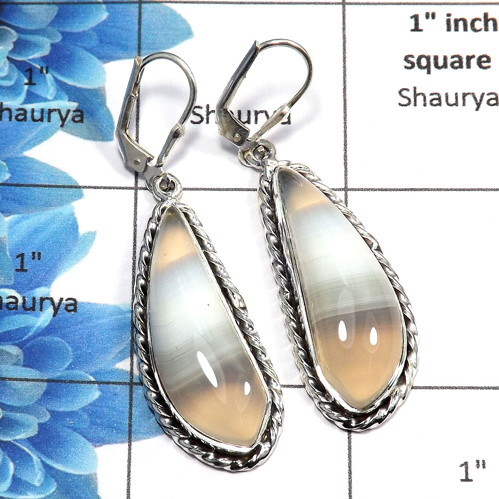 Agate Cab - D SPE761 - Indian Factory Made Solid 925 Sterling Silver Plain Setting Clasp Earring