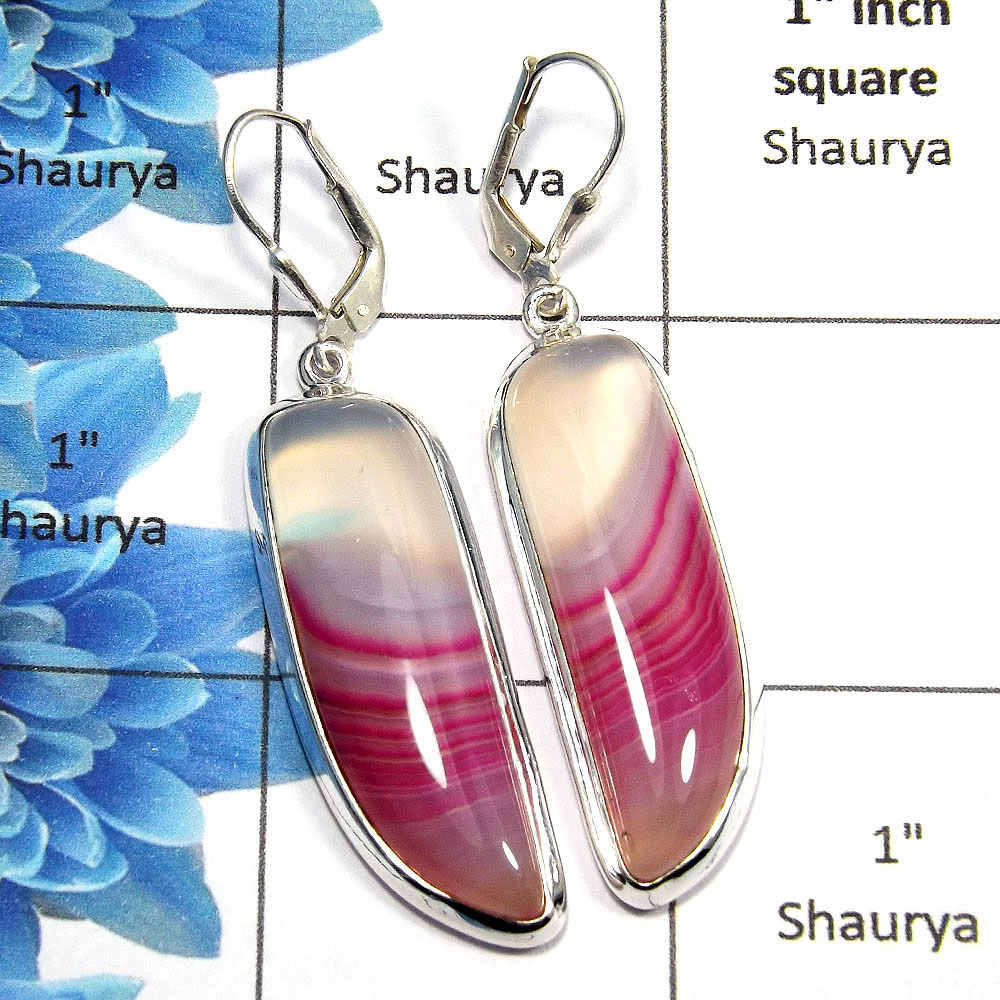 Agate Cab - E SPE761 - Natural Pink Lace Agate Gemstone Solid 925 Sterling Silver Plain Setting Clasp Earring