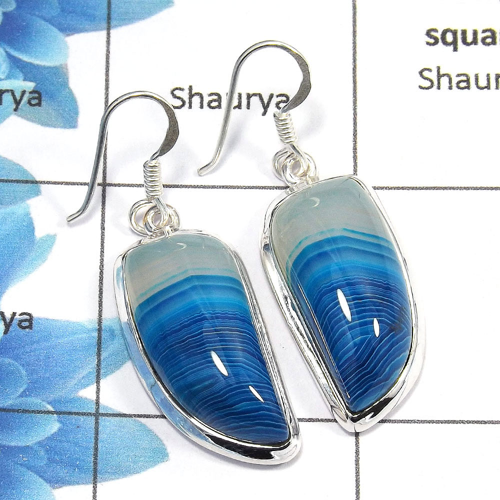 Agate Cab - D SPE762 - Gorgeous Natural Agate Gemstone 925 Sterling Silver Plain Setting Dangle Earring