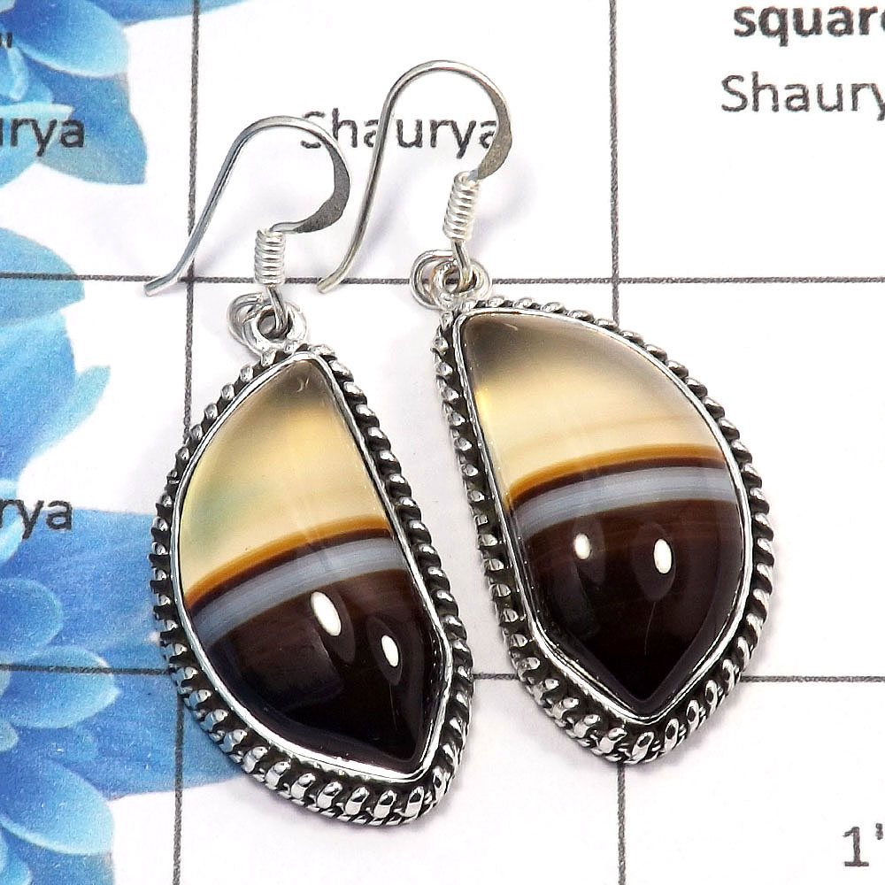 Agate Cab - I SPE762 - Exclusive Natural Agate Cab Gemstone Solid 925 Sterling Silver Plain Setting Earring