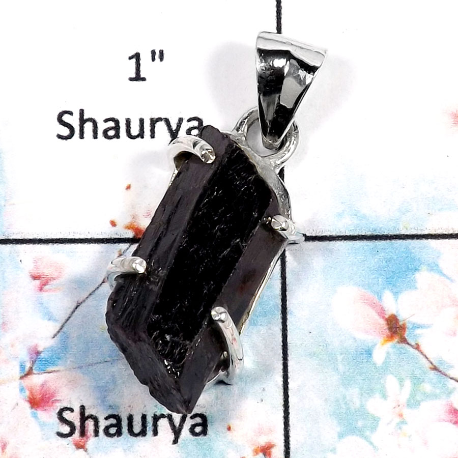 Black Tourmaline-H SPS883-Attractive Rough Gemstone Prong Setting Pendant 925 Sterling Silver