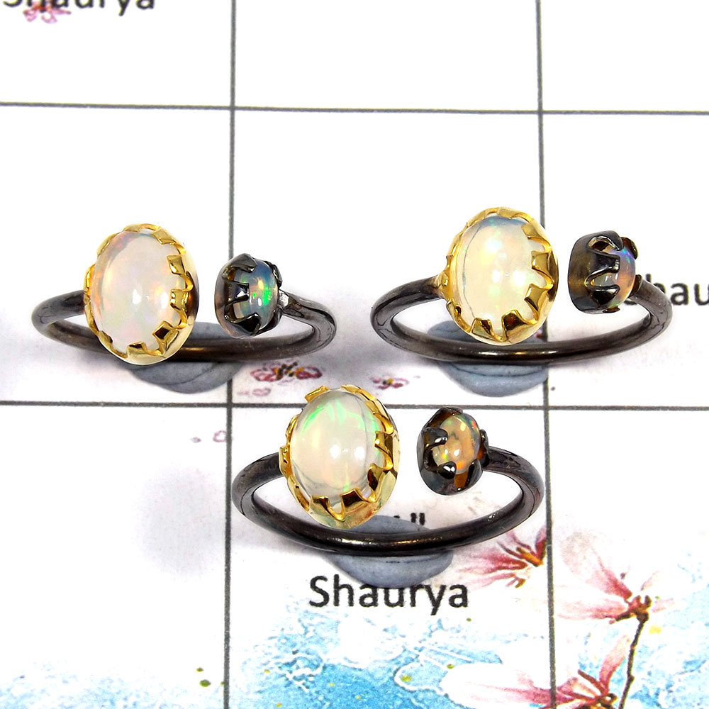 Ethiopian Opal Cab - D SVP789 - Solid 92.5% Sterling Silver Ethiopian Opal Oval Cab Black Rhodium 3 pcs Lots Ring