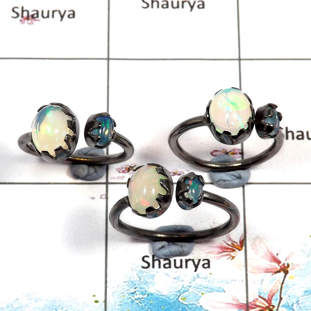 Ethiopian Opal Cab - H SVP789 - Solid 925 Silver Natural Multi Color Ethiopian Opal Gemstone Black Rhodium 3 pcs Lots Ring
