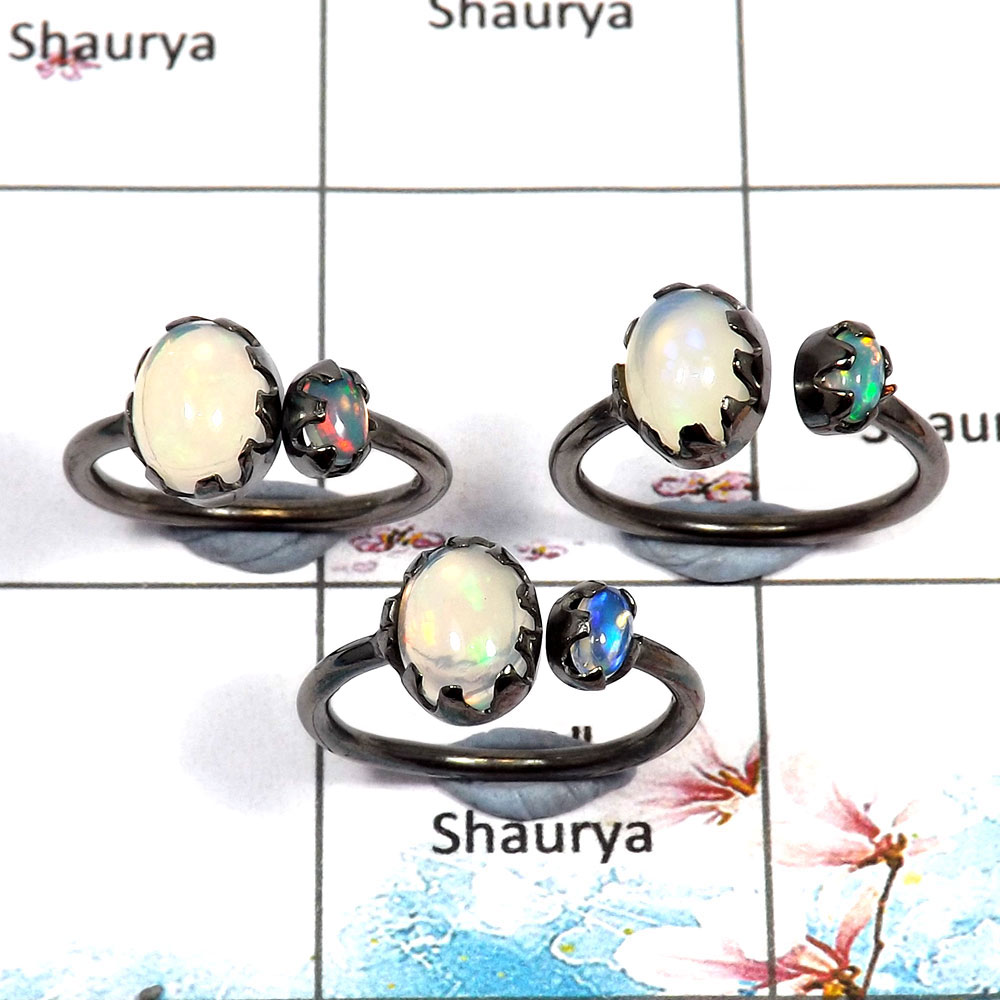 Ethiopian Opal Cab - O SVP789 - Newly Handmade 925 Silver Natural Multi Color Ethiopian Opal Black Rhodium 3 pcs Lots Ring
