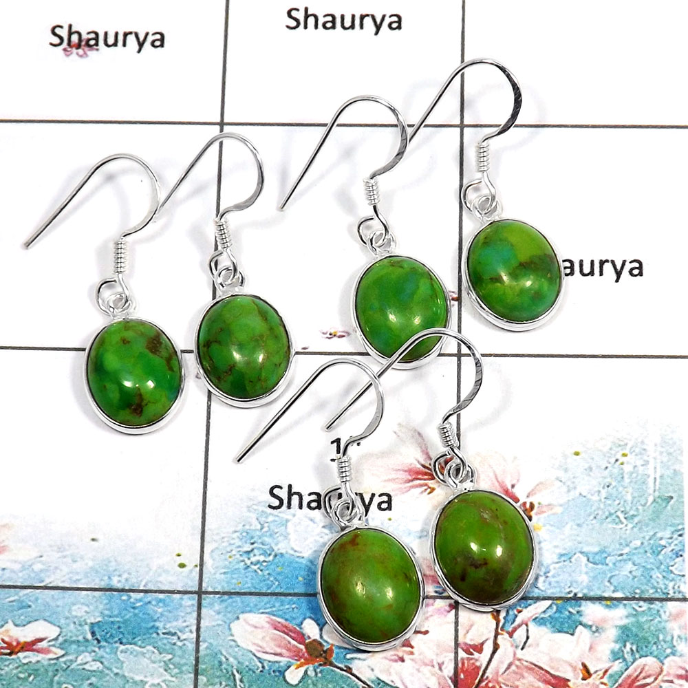 Green Copper Turquoise Cab - H SVP790 - 925 Sterling Silver Green Copper Turquoise Gemstone 3 Pcs Lots Bezel Earrings