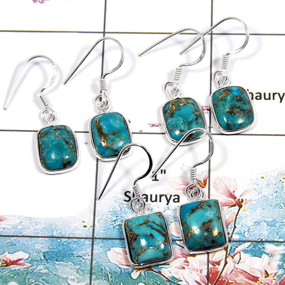 Blue Copper Turquoise Cab - O SVP790 - Solid 925 Sterling Silver Blue Copper Turquoise 3 Pcs Lots Bezel Earrings
