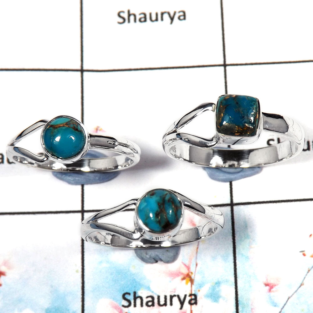 Blue Copper Turquoise Cab - A SVP795 - Solid 925 Sterling Silver 3 Pcs Wholesale Ring