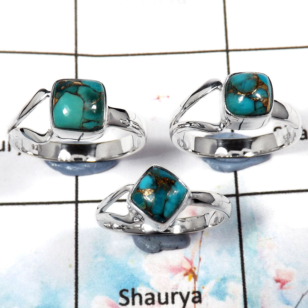 Blue Copper Turquoise Cab - E SVP795 - Stunning Look Made Turquoise Gemstone Solid 92.5% Silver 3 Pcs Ring