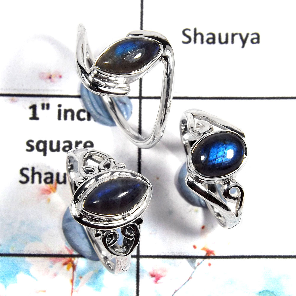 Labradorite Cab - A SVP796 - Natural Blue Fire Labradorite Gemstone 925 Sterling Silver 3 pcs Lots Ring
