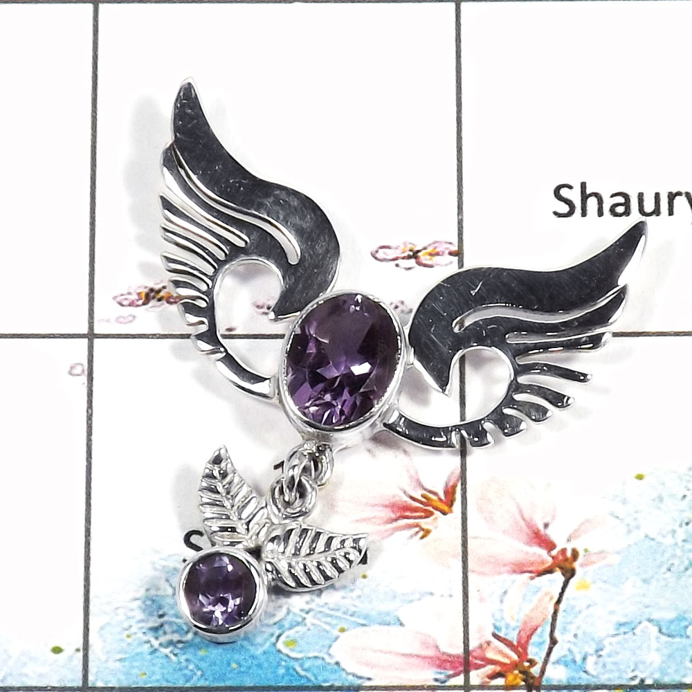 Amethyst Cut - H SWP995 - Solid 925 Sterling Silver Guardian Wings Natural Purple Amethyst Cut Stone Pendant