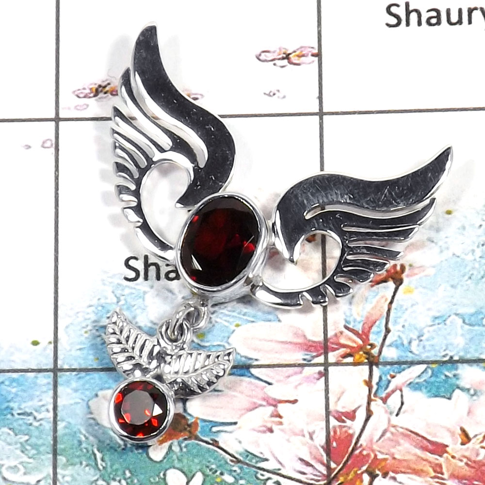 Garnet Cut - I SWP995 - Indian Company Made Solid 925 Sterling Silver Guardian Wings Handmade Pendant