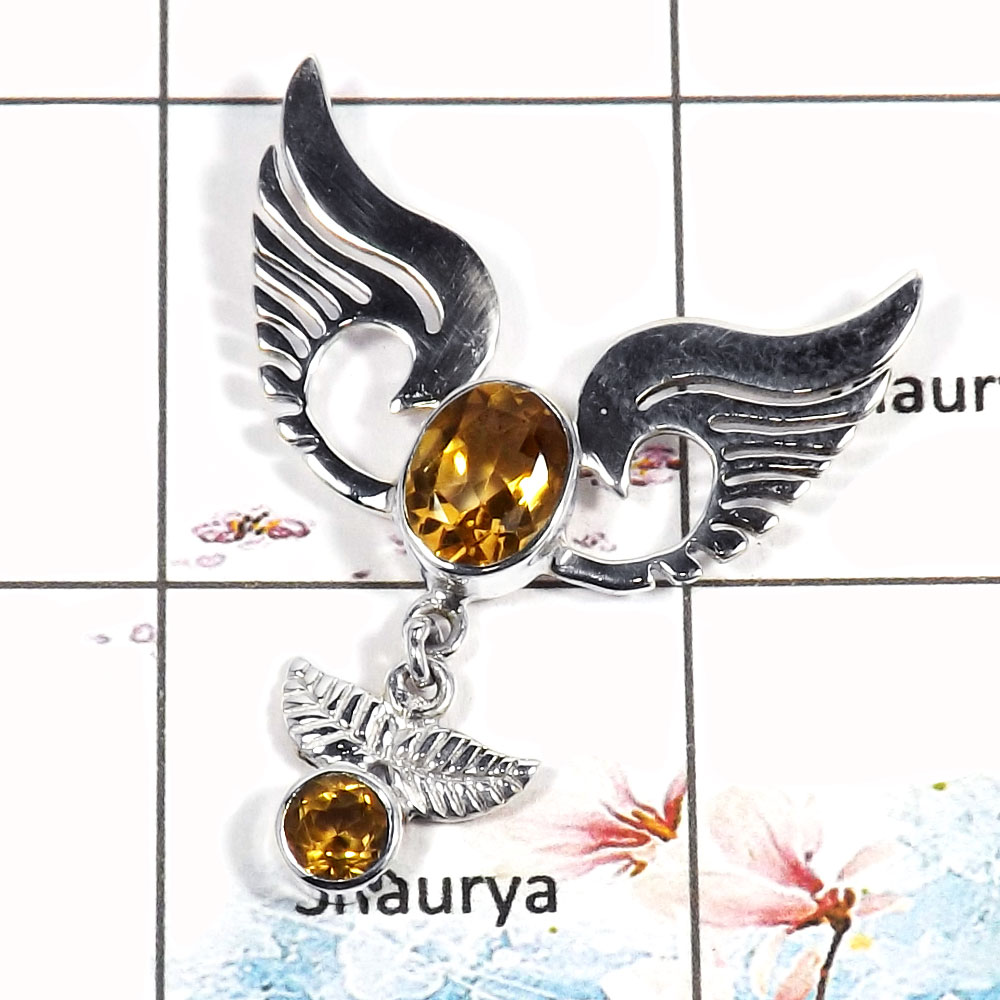 Citrine Cut - O SWP995 - Latest Collection Citrine Gemstone 925 Sterling Silver Guardian Wings Pendant