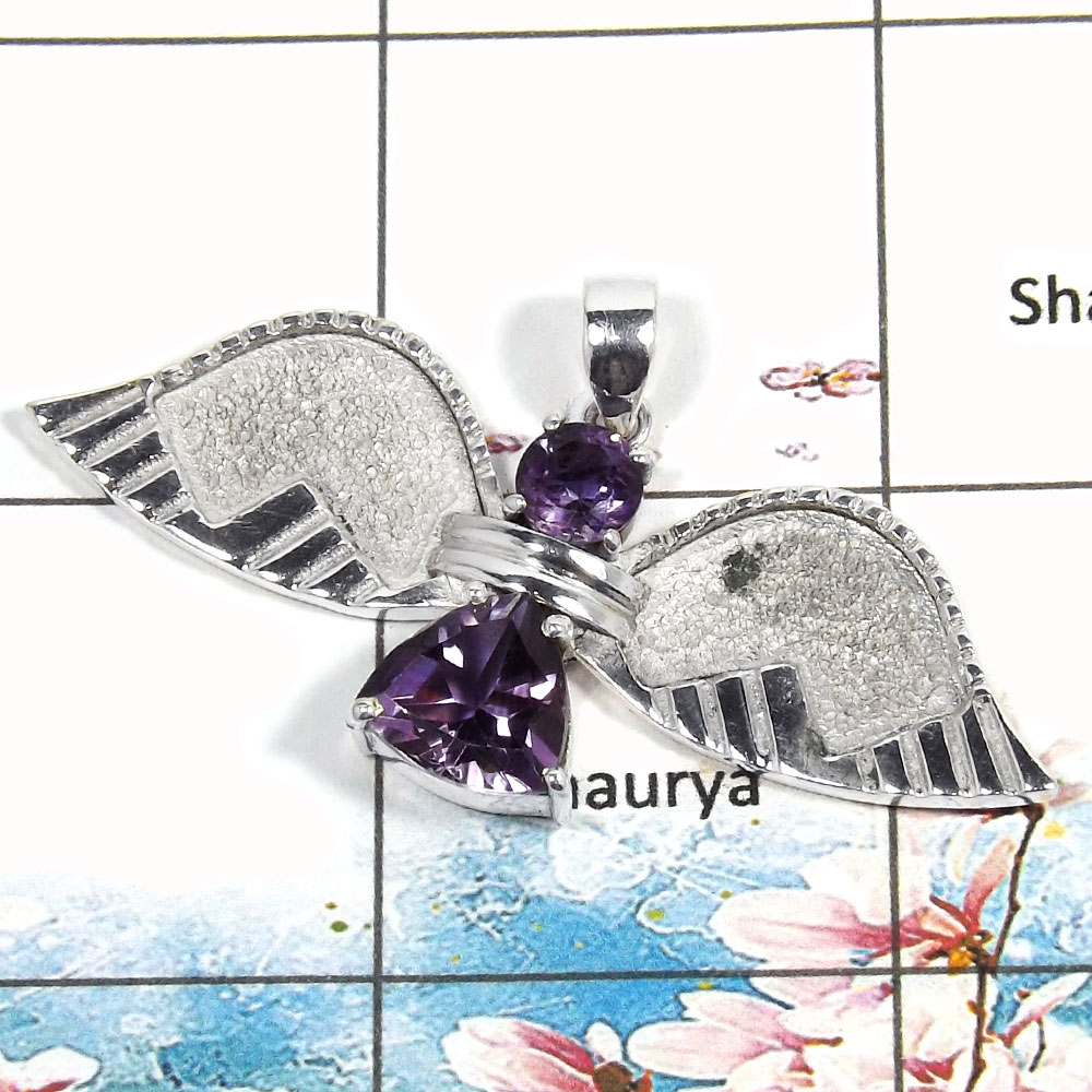 Amethyst Cut - F SWP996 - Solid 925 Sterling Silver Guardian Wings Natural Amethyst Cut Gemstone Pendant