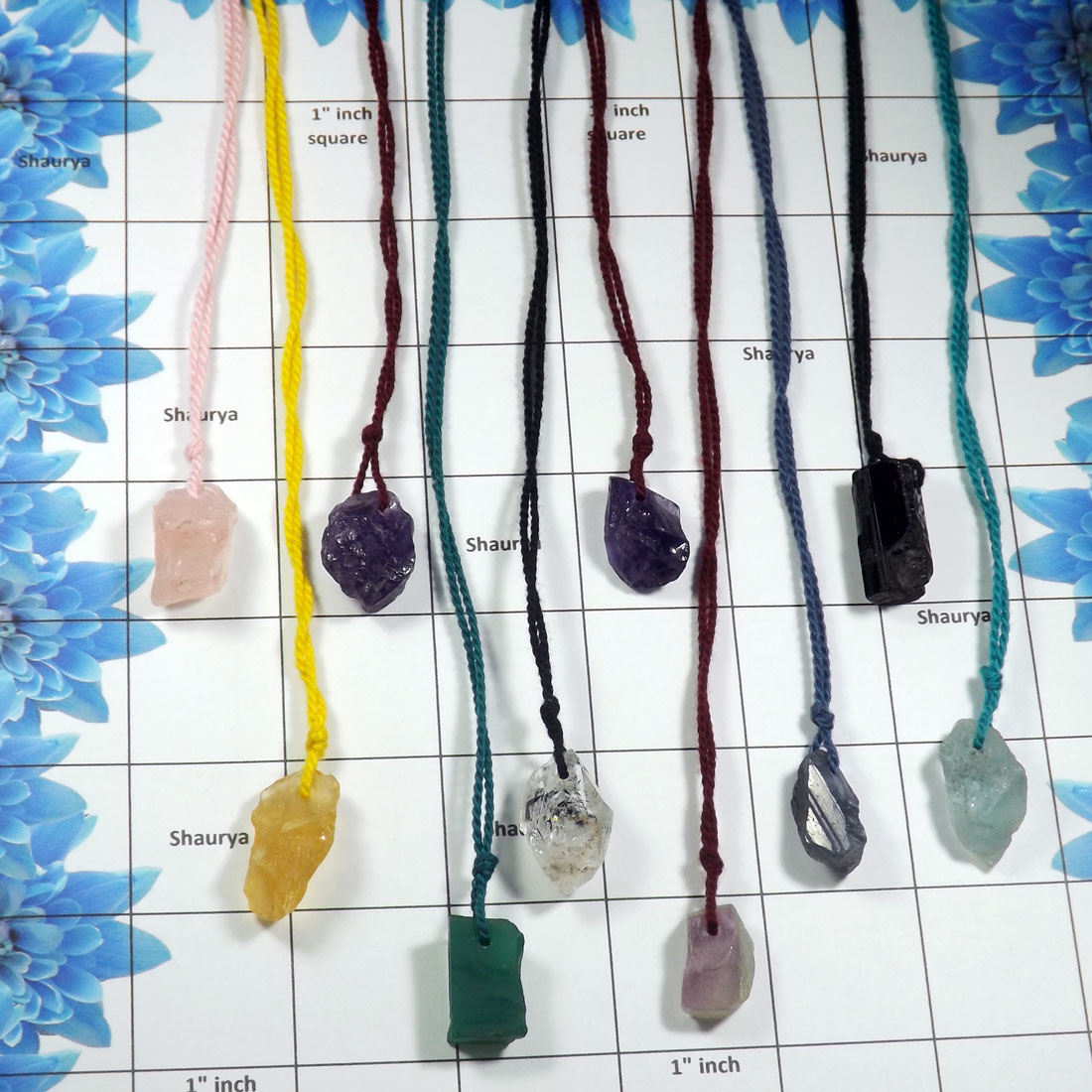 Mix Raw Gemstone - W2H986-10 Pcs Assorted Multi Raw Gemstone Handmade Thread Necklace