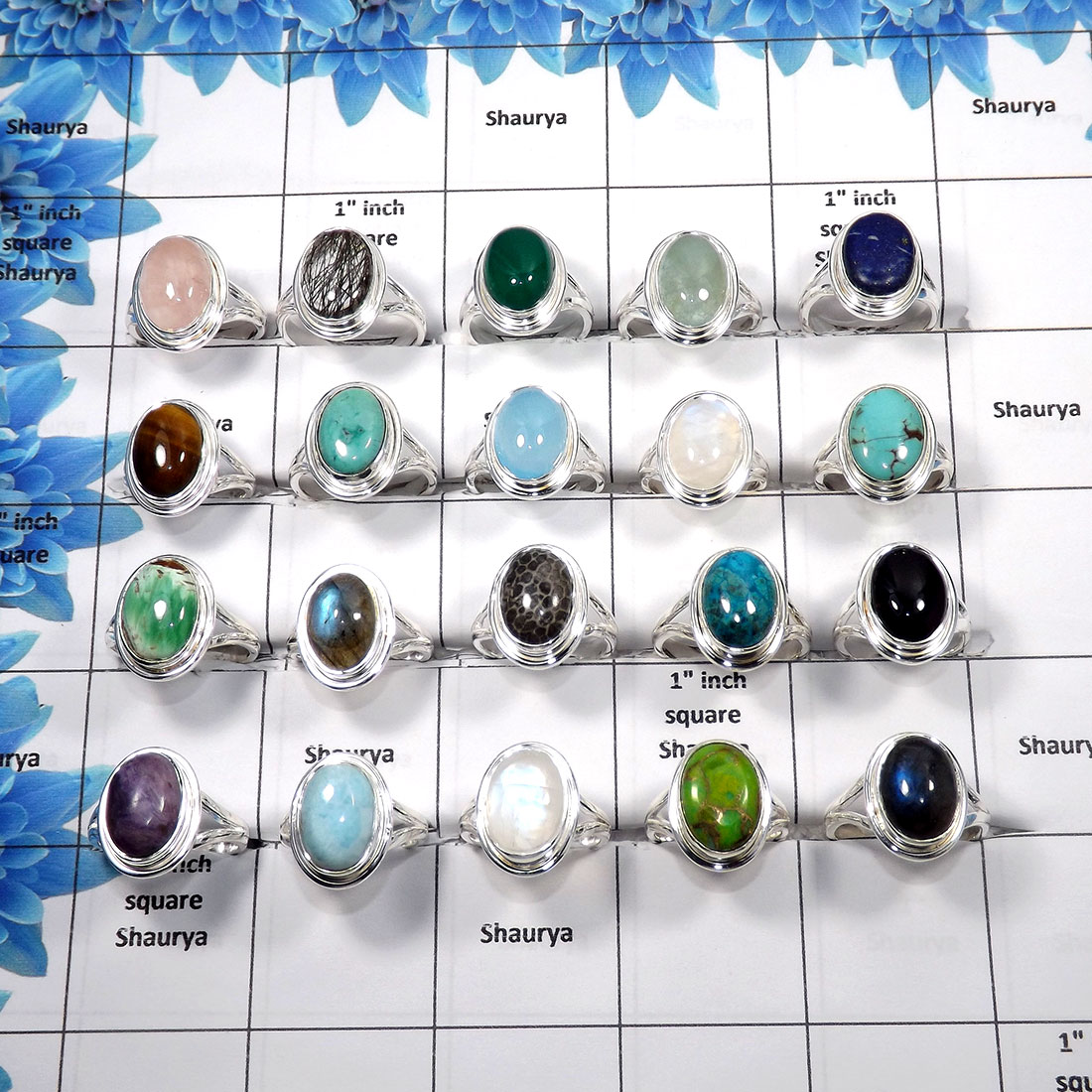 Mix cab stones A - WSL989 - 100 gms Lot Mix Cab Natural Assorted Gemstone with Solid 925 sterling Silver Wholesale Ring 13 to 16