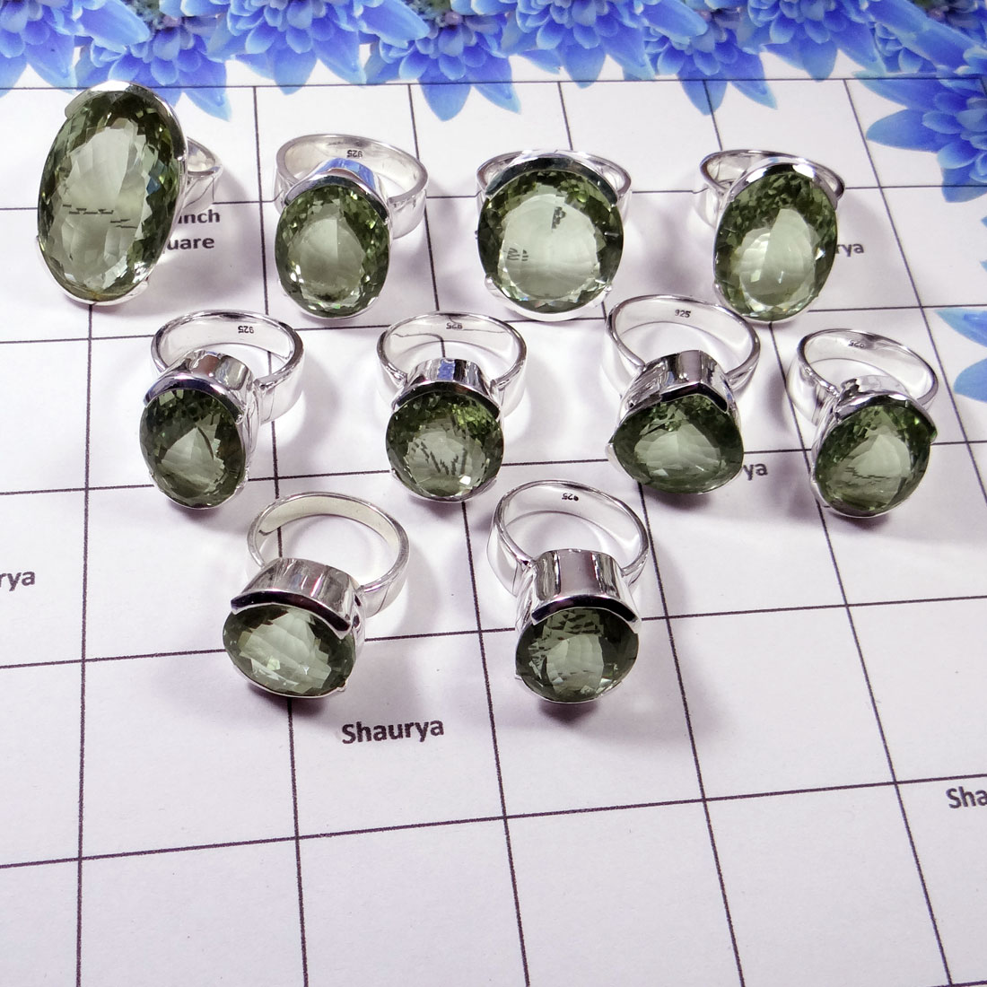 Green Amethyst Ring - WSLR883-150 Gram Mix Shape Cut Green Amethyst 925 Sterling Silver Wholesale Ring Lot 9 To 13 Pcs