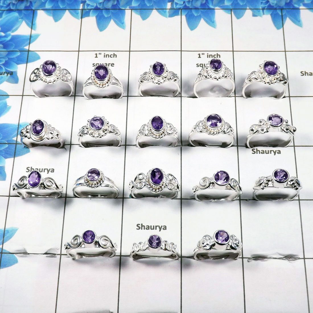 WSLR887-Cut Amethyst 925 Sterling Silver Handmade 100 Gram 30 to 33 Pcs Wholesale Ring Lot
