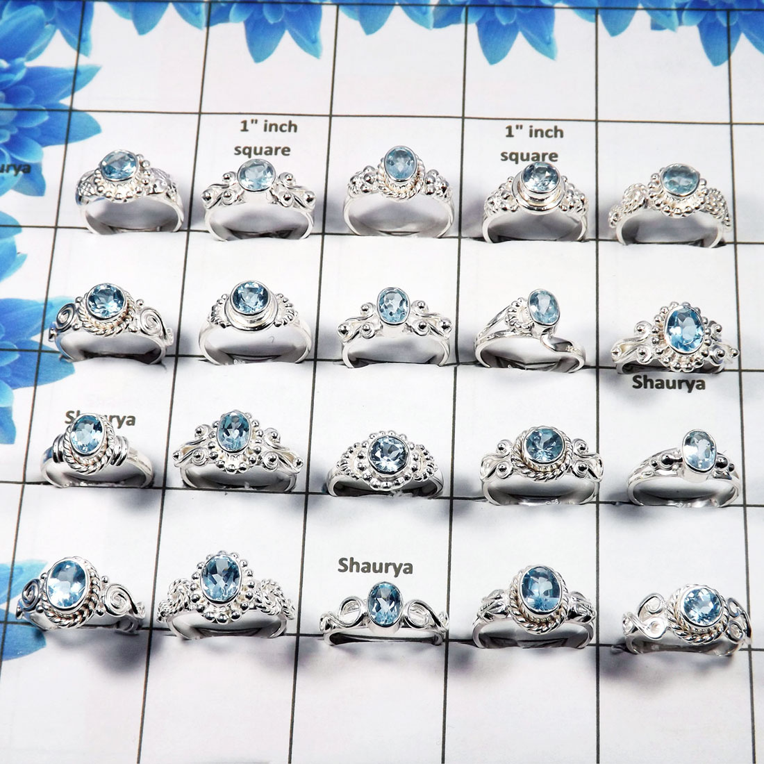 WSLR888-Faceted Blue Topaz 925 Sterling Silver 100 Gram 30 to 33 Pcs Wholesale Ring Lot
