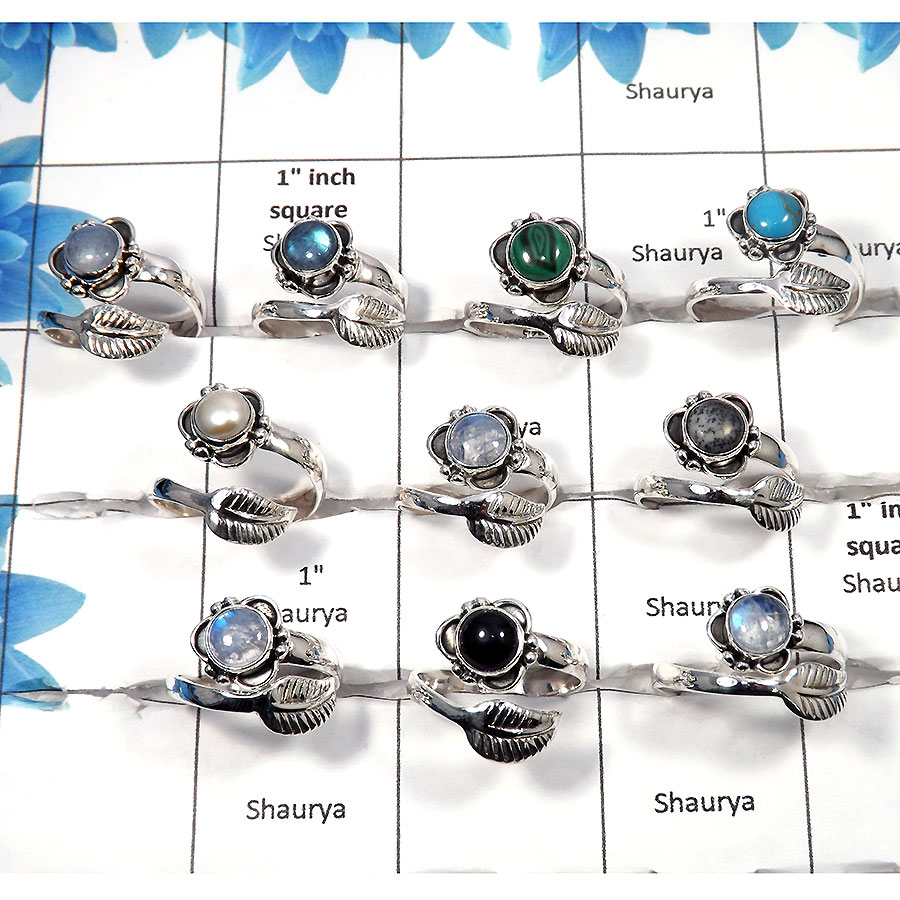 Multi Cab - F - 100 Gms 4 to 9 Newly Arrival Natural Multi Cab Gemstone 925 Silver Assorted Ring Approx. 25 To 30 Pcs. WSLR960
