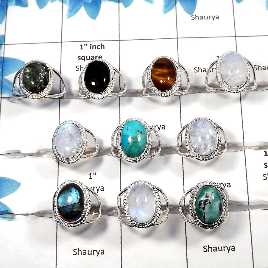 Multi Cab - I - 100 Gms 6 to 9 Natural Multi Cab Gemstone 925 Sterling Silver Assorted Ring Approx. 20 To 25 Pcs. WSLR960