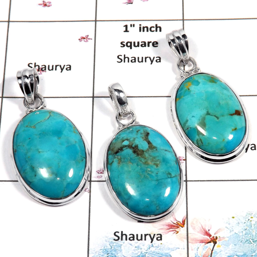 Blue Turquoise Cab - A WSP987 - Natural Blue Turquoise Gemstone 925 Sterling Silver 3 Pcs Combo Pack Pendant