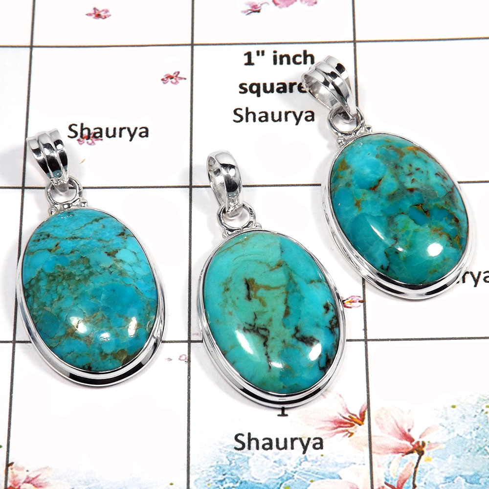 Blue Turquoise Cab - B WSP987 - Solid 925 Sterling Silver 3 Pcs Combo Pack Wholesale Handmade Pendant