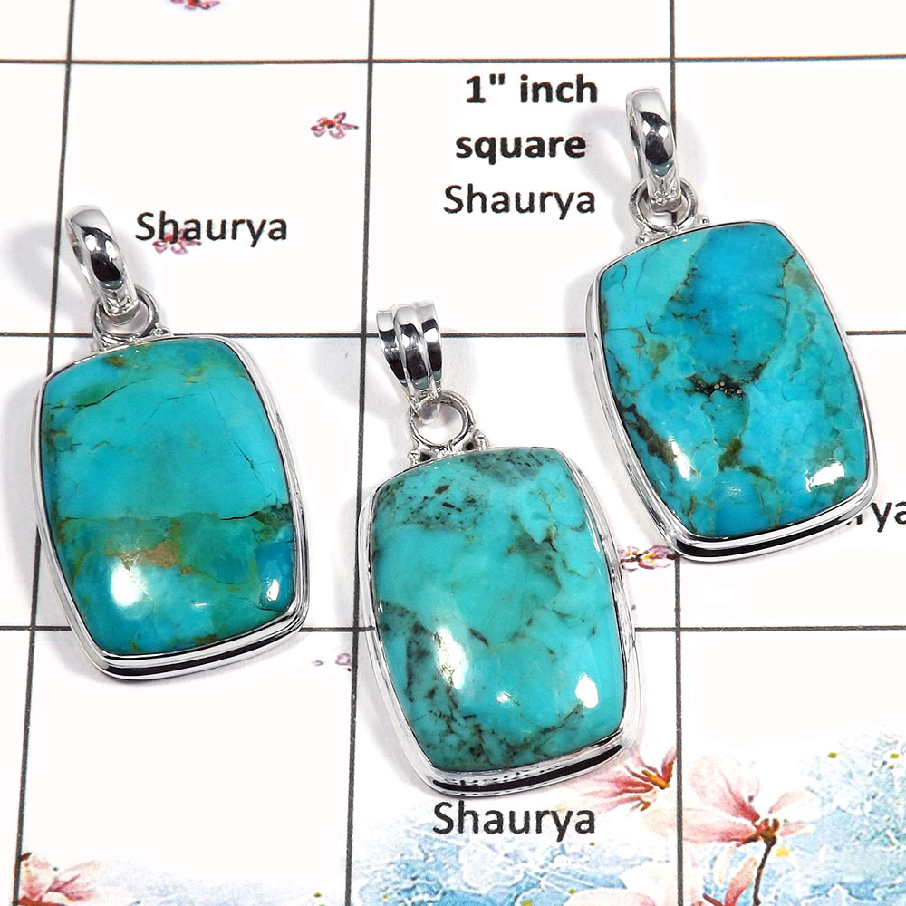 Blue Turquoise Cab - C WSP987 - Indian Factory Made Solid 925 Sterling Silver 3 Pcs Combo Pack Pendant
