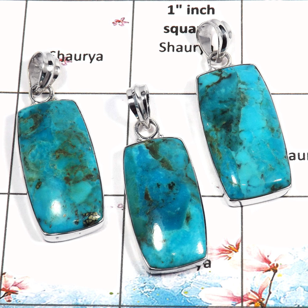 Blue Turquoise Cab - D WSP987 - Newly Arrival Plain Setting 925 Sterling Silver 3 Pcs Combo Pack Pendant
