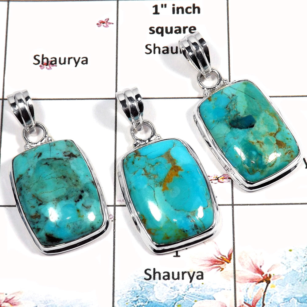 Blue Turquoise Cab - O WSP987 - Party Look Blue Turquoise Gemstone 925 Sterling Silver 3 Pcs Combo Pack Pendant