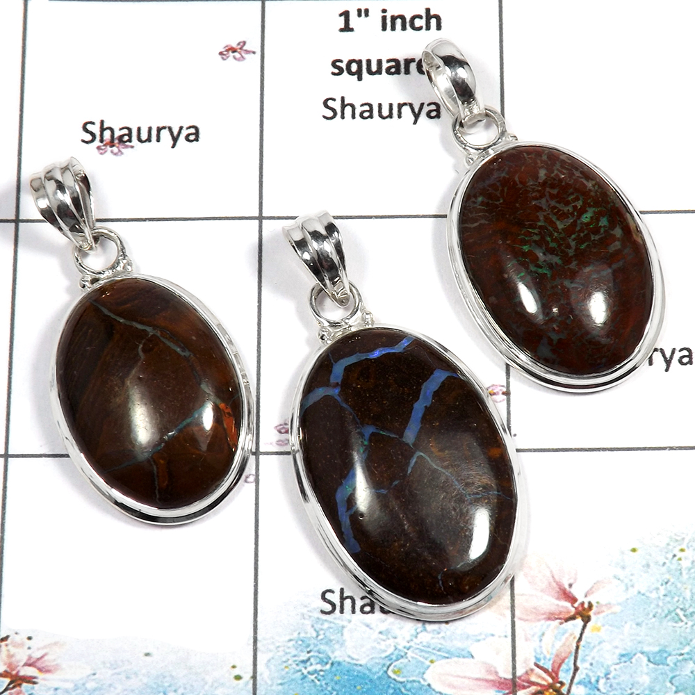 Boulder Opal Cab - E WSP988 - Newly Handmade 925 Sterling Silver Plain Setting 3 Pcs Combo Pack Pendant