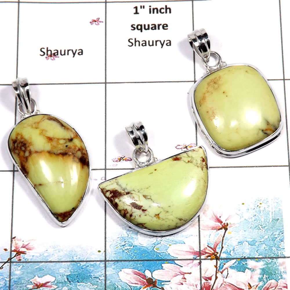 Chrysoprase Cab - O WSP989 - Gorgeous Chrysoprase Stone 925 Sterling Silver 3 Pcs Combo Pack Pendant