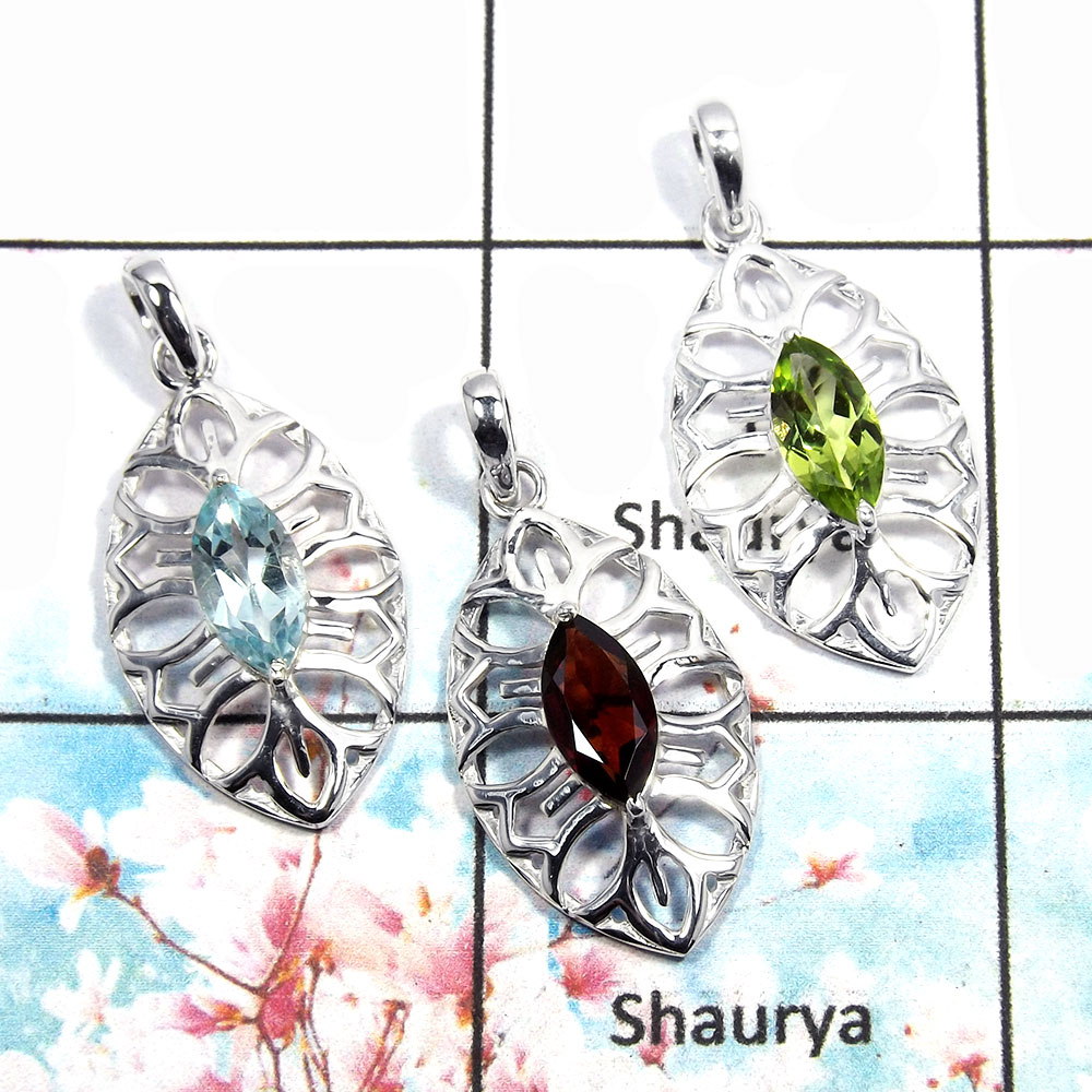 Blue Topaz, Garnet & Periodt - A WSP992 - Solid 925 Silver Bezel Set 3Pcs Combo Value Pack Pendant Lot