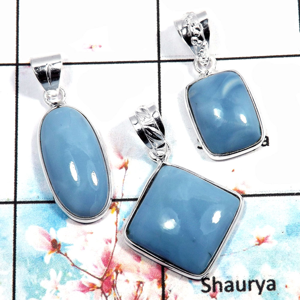 Blue Opal - G WSP992 - Indian Factory Made 925 Silver Bezel Set 3Pcs Combo Value Pack Pendant Lot