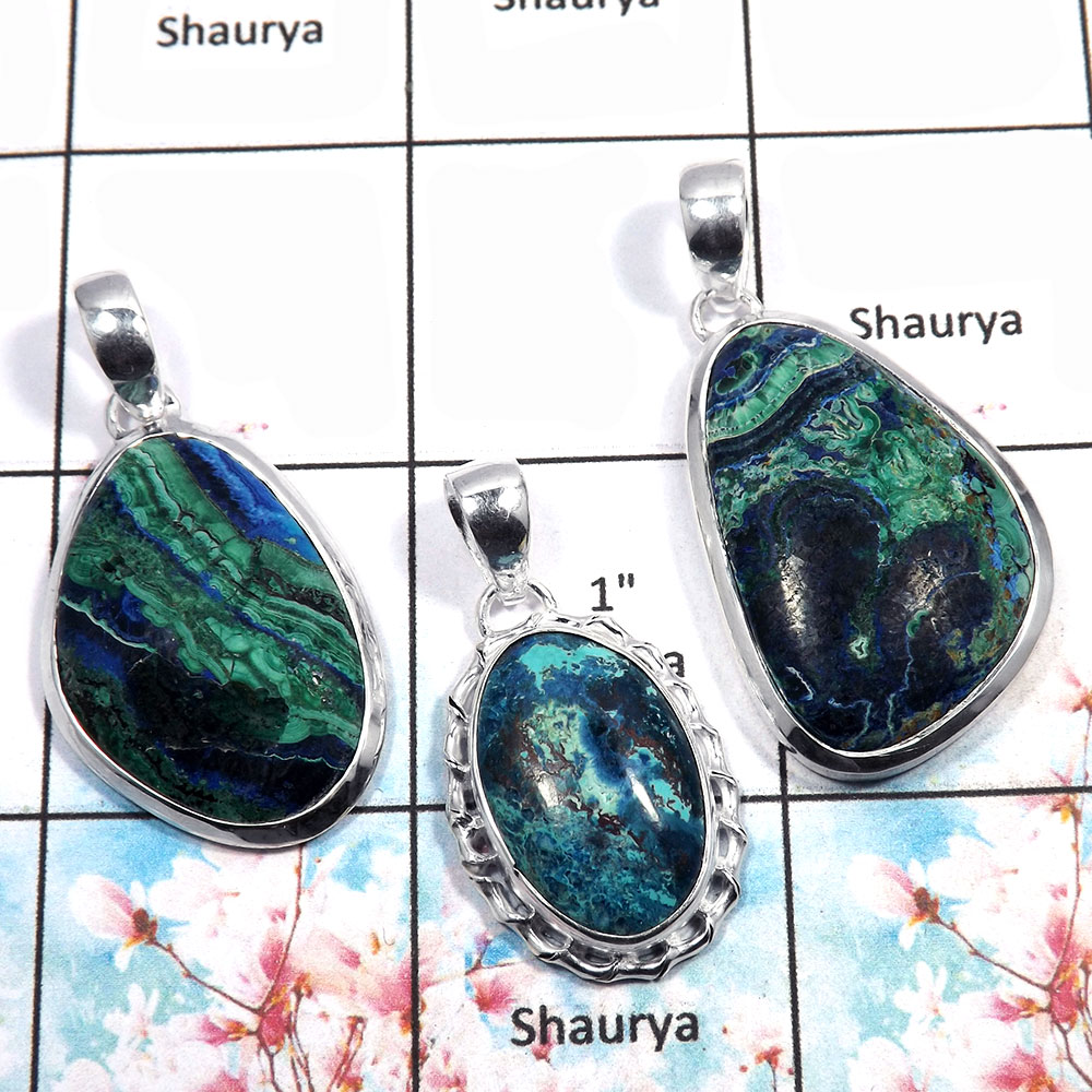 Shattuckite - K WSP992 - Natural Shattukite Gemstone 925 Silver Bezel Set 3Pcs Combo Value Pack Pendant Lot