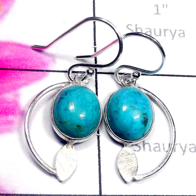 Blue Turquoise C - BZE992-Exclusive Silver Dynamical Gems Manufacturer Bejal Earrin