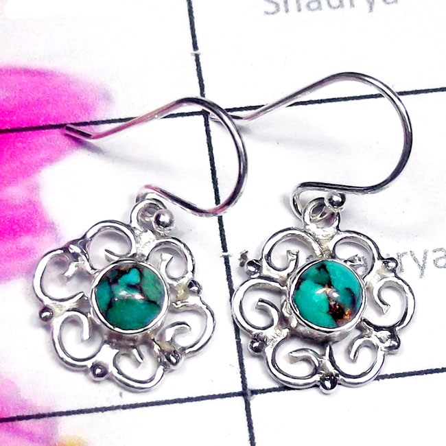 Blue Copper Turquoise G - SDE910-Semiprecious Gemstone Sterling Silver Filigree Earring