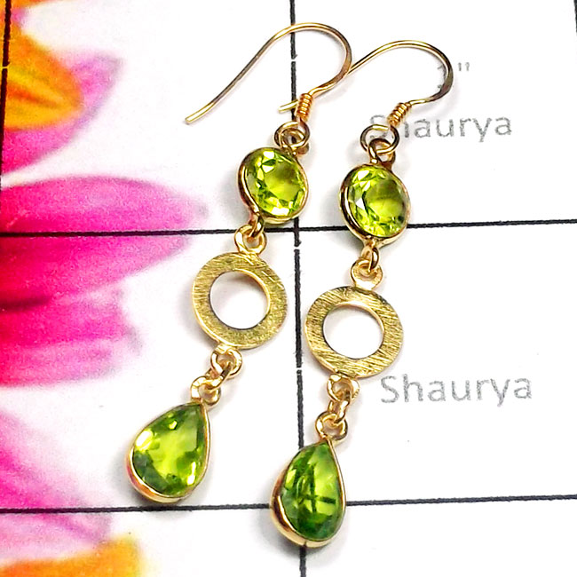 Peridot O - SGE982-Sterling Silver Gold Plated Cut Gemstone Earring