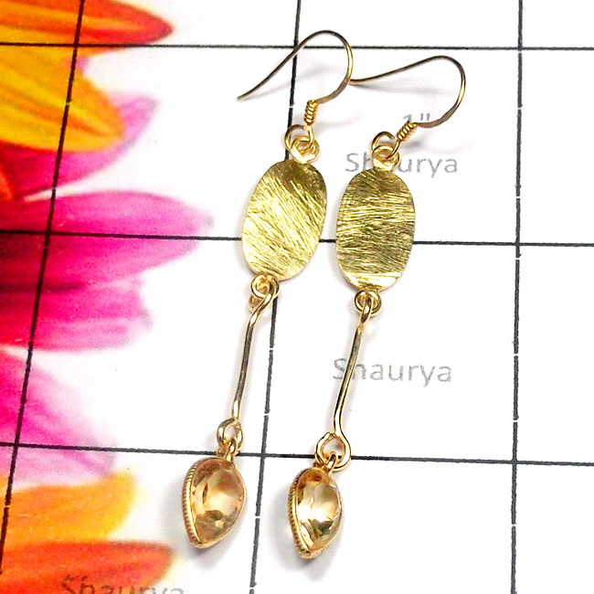 Citrine A - SGE980-Semiprecious Gemstone 925 Gold Plated Lightweight Earring