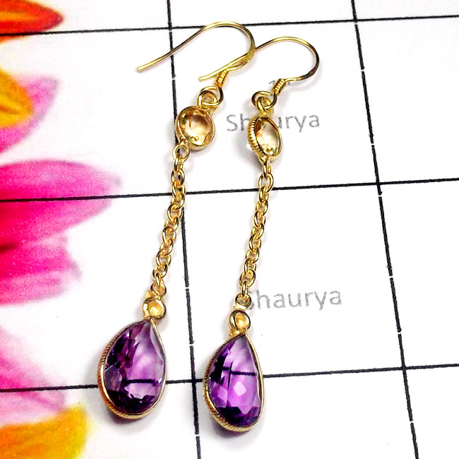 Amethyst A - SGE978-925 Manufacturer Cut Gemstone Gold Plated Earring