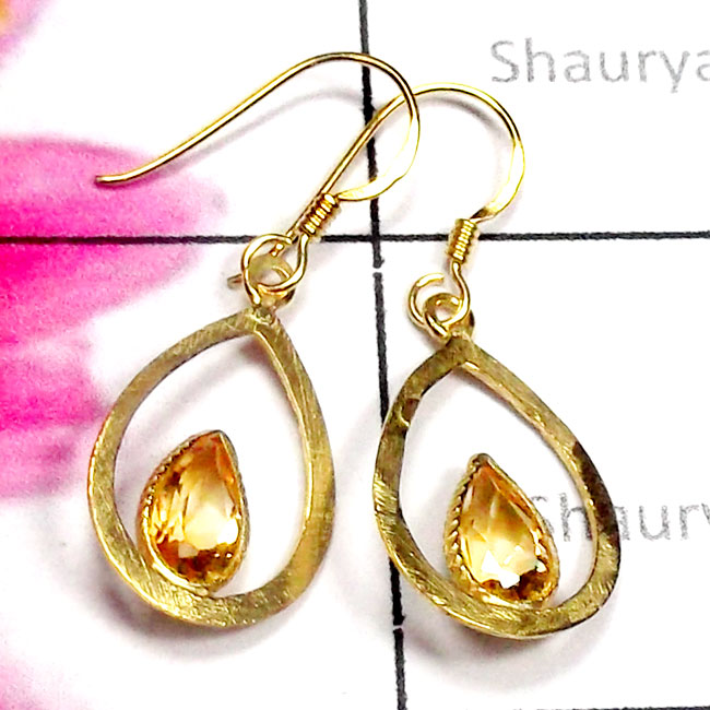 Citrine C - SGE978-925 Manufacturer Cut Gemstone Gold Plated Earring