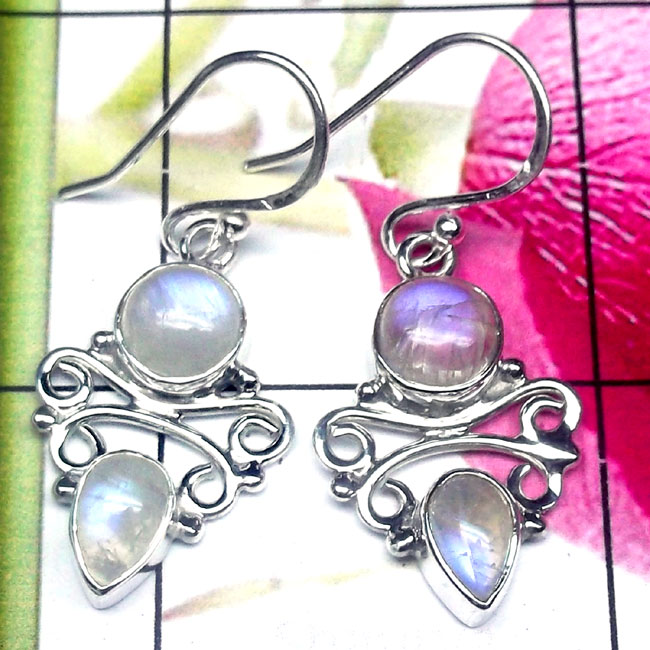 Rainbow H - FLE994-Cut and Cab Mix Gemstone 925 Silver Trendy Earring