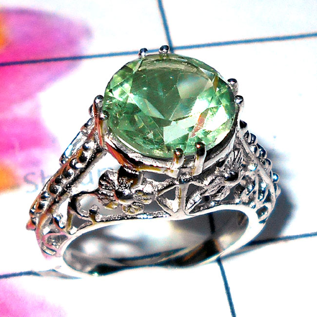Green Amethyst O - SCR937-925 Exclusive Silver Cut Gemstone Designer Casting Ring