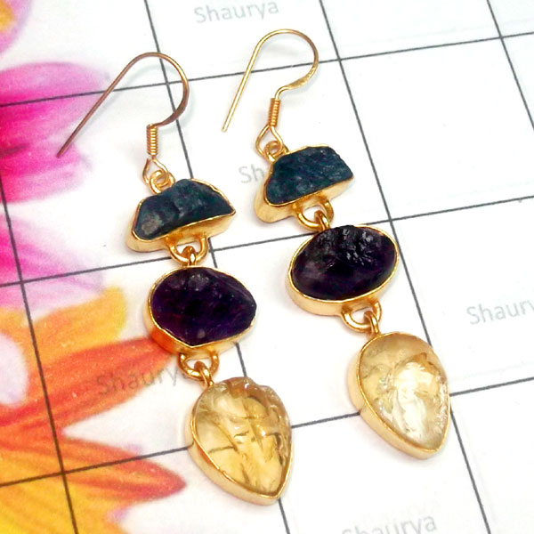 Multi Rough Gemstone B - RGE986-925 Sterling Silver Gold Plated Fancy Earring