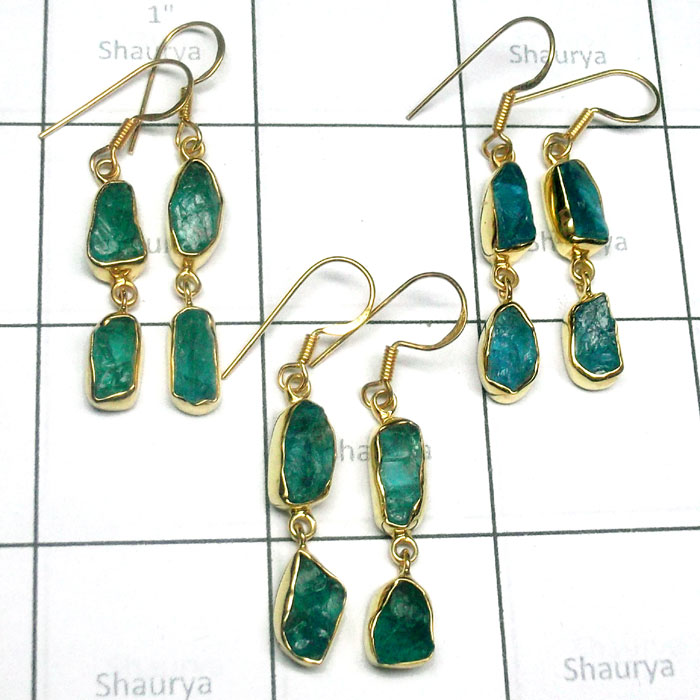 3 pair lot Apatite A - RGE985-Apatite 3 Pair lot 925 Sterling Silver Gold Plated Earrin